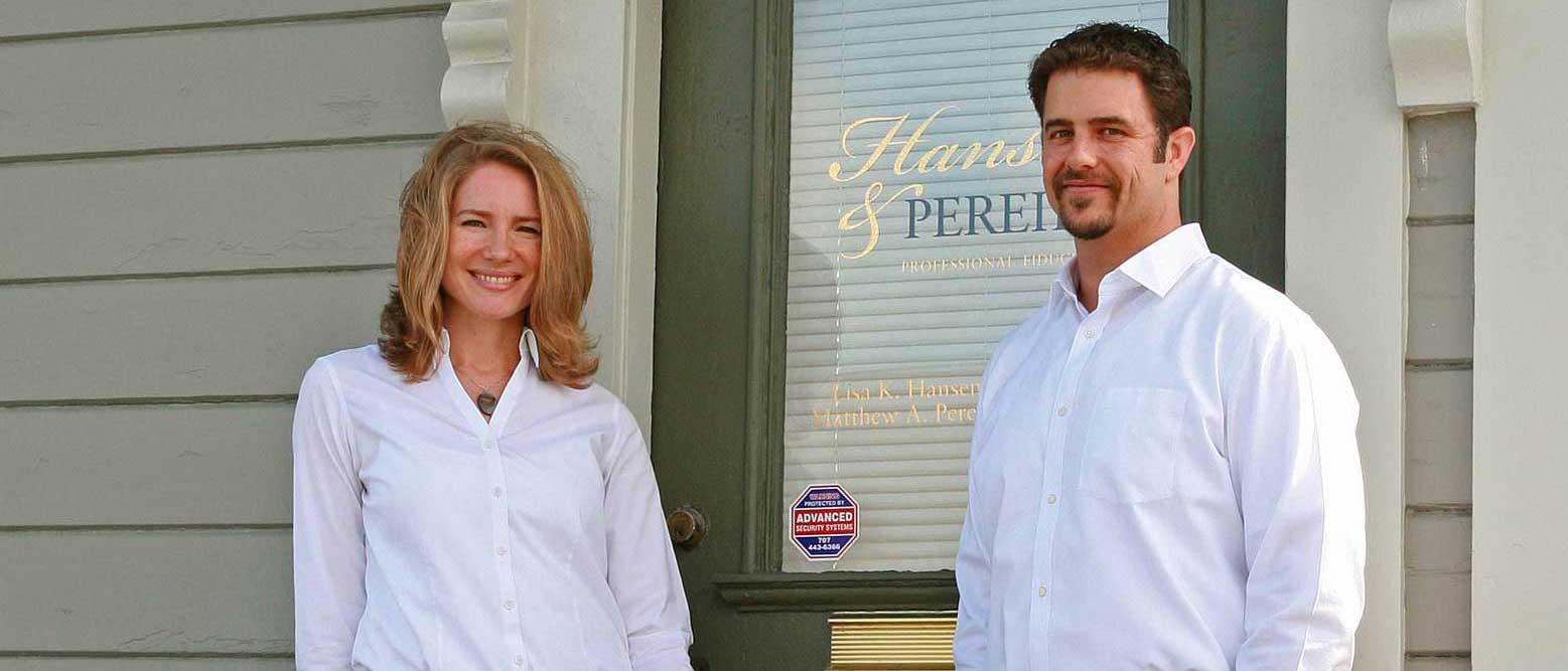 Lisa Hansen and Matt Pereira at entrance